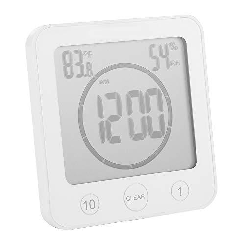 Yosoo Horloge de Salle de Bain Horloge étanche Douche Écran LCD numérique Thermomètre Hygromètre Minuterie Horloge Murale Multifonction pour Cuisine Salle de Bain(White)
