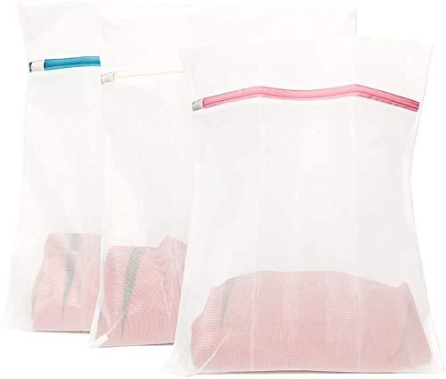 Wäschesäcke 50x40 CM 3er Pack wäschenetz groß für Waschmaschine Wiederverwendbare Feinmaschiges Wäschesack mit Langlebigem Reißverschluß für empfindliches, Bluse, Strumpfwaren, BH, Unterwäsche(3 set)