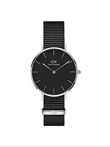 Daniel Wellington Petite Cornwall, Schwarz/Silber Uhr, 32mm, NATO, für Damen