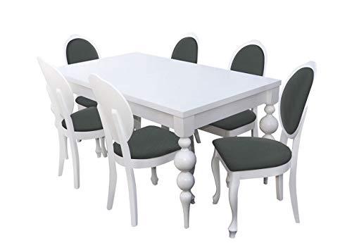 Mirjan24 Esstisch Stuhl Set RB40 Essgruppe, Tischgruppe, Sitzgruppe Esstischgruppe, Esszimmergarnitur (Weiß, Granada 2725)