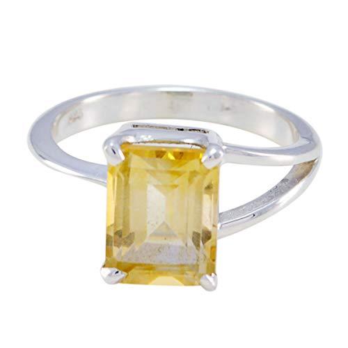 joyas plata piedras preciosas naturales forma octágono una piedra anillos citrinos facetados - anillo citrino amarillo de plata de ley 925 - nacimiento de junio géminis