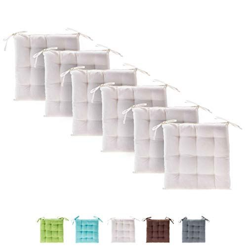 etérea Basic Sitzkissen, Stuhlkissen mit Bändern - für Innen- und Außenbereich geeignet, Sitzpolster Auflage für Haus und Garten - 6er Set - 40x40 cm, Creme