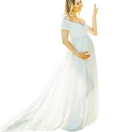 Hochzeit Fotoshooting Schwangere Lang Kleider Abendkleid Damen Elagant Umstandskleid Off Schulter Chiffon Mesh Schwanger Fotografie Rock Maxi Kleid Fotoshoot Festlich Lange Schwangerschaftskleid