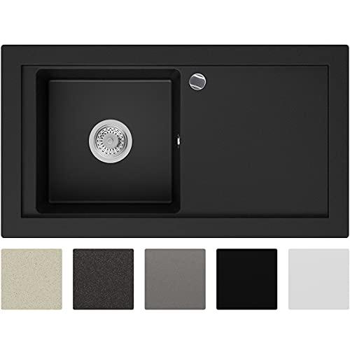 Lavabo de Cuisine en Granit Noir, 89 x 49,5 cm, Évier 1 bac + Siphon Automatique, 5 couleurs et option antibactérienne, Évier à Encastrer de Primagran