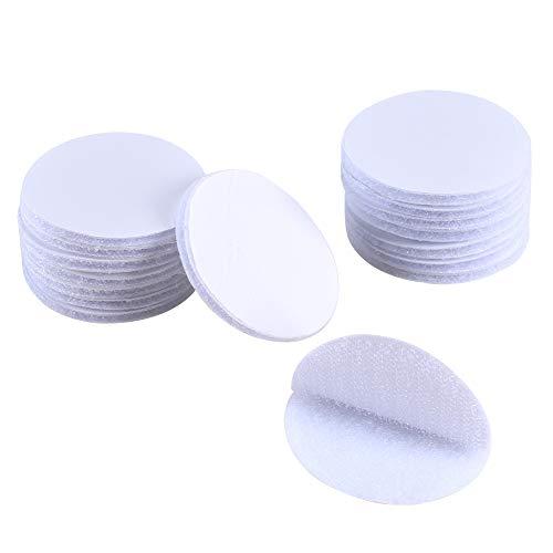 HUAESIN 16 Stück 50mm Runde Klettband Selbstklebend Doppelseitig Extra Stark Haftkraft Weiß Klettpunkte Klettverschluss Flauschband Hakenband für Wand Glas Auto Industrie Spiegel