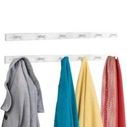 mDesign Hakenlijst van hout - Wandgarderobe met 6 garderobehaken - voor het opbergen van mantels, jassen, sjaals, handdoeken - wit - Set van 2