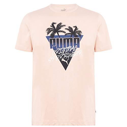 PUMA Herren Palms QT T Shirt Kurzarm Rundhals Baumwolle Pink Sand L