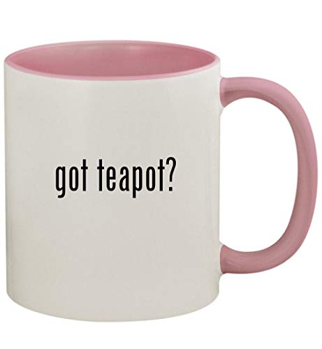 got teapot? - 11oz Ceramic Colored Handle and Inside Coffee Mug Cup, Pink