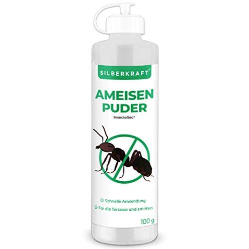 Silberkraft Ameisenpuder gegen Ameisen und Insekten 100 g, zu 100% aus Kieselgur, geruchloses Ameisenmittel für Haus & Garten, Sofort- und Langzeitwirkung
