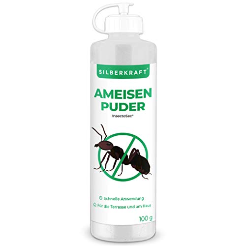 Silberkraft Ameisenpuder gegen Ameisen und Insekten, zu 100% aus Kieselgur, geruchloses Ameisenmittel für Haus & Garten, Sofort- und Langzeitwirkung