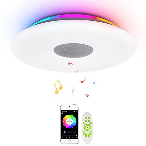 OFFDARKS WiFi LED Deckenleuchte kompatibel mit Amazon Alexa Google Assistant, Bluetooth-Lautsprecher, einstellbare Helligkeit, farbiges Licht, App, Fernbedienung, Wohnzimmer Schlafzimmer Kinderzimmer