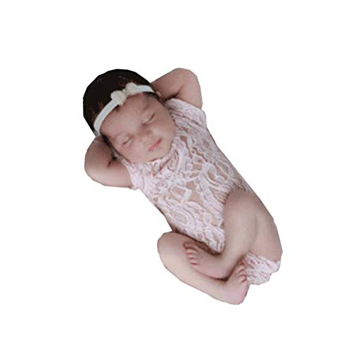 Himom Trajes de fotografía para bebés recién Nacida niñas,Disfraces Ropa para Foto,Body de bebé de Encaje Princesa Lace Bodysuit Photography Clothing Props