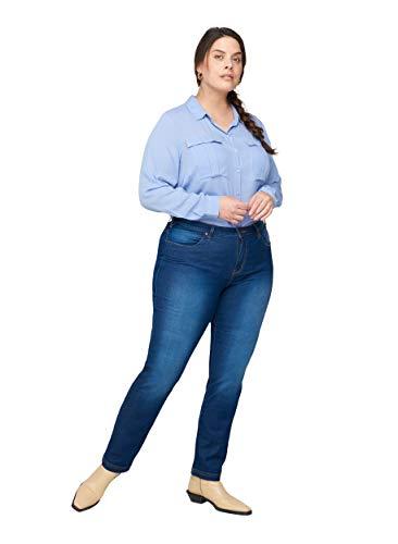 Zizzi Damen Emily Jeans Slim Jeans, per Pack ,Blau (Blue 1052),52 (Herstellergröße: 52/ 78 cm)