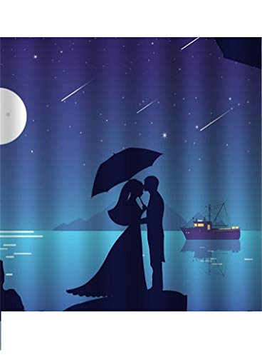 Cartoon Print Characters Couple of Lovers Stand on Rock on Sea Meteor in Envy Sky Silhouette Effect 5D DIY Diamond Painting Kits for Home Wall Decor Full Drill Cross Stitch Gift 12'x16'
