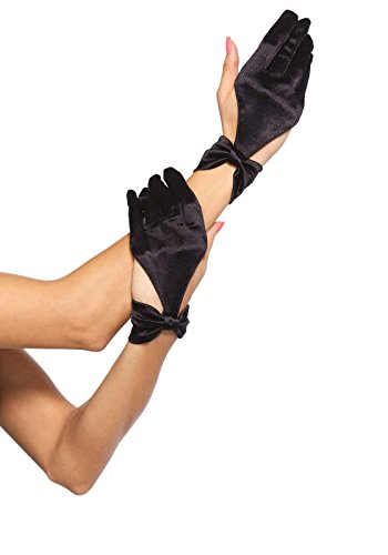 Leg Avenue Women's Satin Cut Out Gloves with Bow Detail, Black, One Size