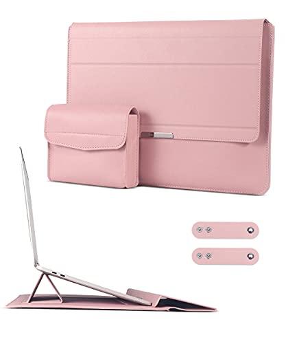 AtailorBird Custodia PC Portatile 15.6 Pollici con Funzione Stand,Borsa Protettiva Magnetica Sottile Impermeabile Compatibile per Macbook Pro 16 con Borsa Accessori - Rosa