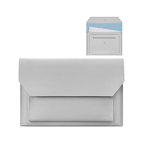 Costowns 革 ブリーフケースA4 大きめセカン ドバッグ メンズ レディース バッグ 手持ち バッグ A4サイズ 13.3インチ ipad 収納可 ビジネス 封筒袋 資料ケースct-20 (グレー)