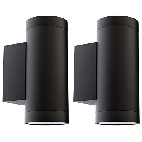 Klighten 2 Piezas Aplique de Pared Exterior Arriba Abajo Aplique Exterior IP65 Lámpara de Pared Moderna de Aluminio para Entrada Terraza Jardín, Zócalo GU10, Bombilla no Incluida, negro