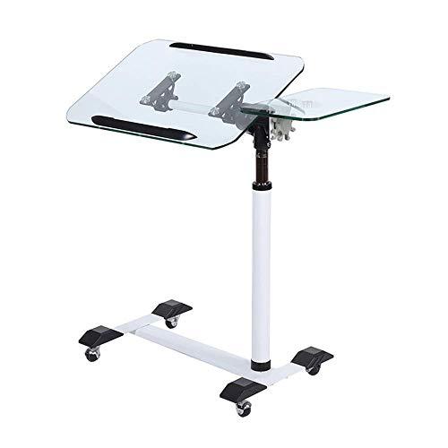 Multifunctionele tafel Bankzijde Notebook Laptop Bureau in hoogte verstelbaar 74 103cm met verwijderbaar universeel wiel Glazen blad, thuis/kantoor