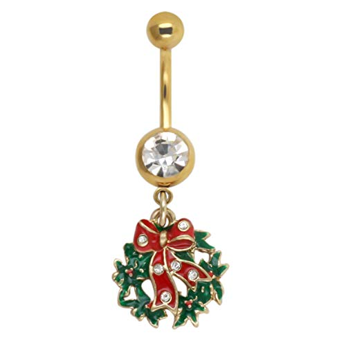 Excepro Belly Button Rings14G(1.6mm) 316L Surgical SS Christmas Tree Body Jewelry Belly Rings (Christmas tree)