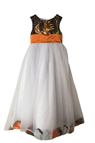MILANO BRIDE Girl's Prom Dress Wedding Party Gown Camo Long Empire-Waist Tulle -Child 6-Orange&Camo