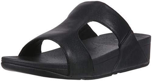 FitFlop Women's H-BAR SHIMMERLIZARD Sandal, Black, 9 M US
