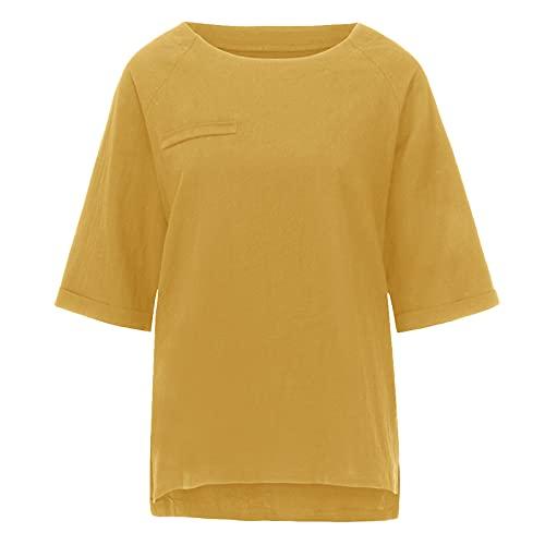 neiabodos Camiseta de manga corta para mujer, de algodón y lino, color liso, informal, cuello redondo, manga a tres cuartos, camiseta de verano de manga corta y deportiva