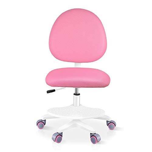 Bamny Kinder- und Jugenddrehstuhl, Junior Schreibtischstuhl mit 6 Gewichtsrollen, ergonomischer Drehstuhl mit Fußpedal für Kinder/Jugendliche, Kinderdrehstuhl mit verstellbaren Rückenlehne, Rosa