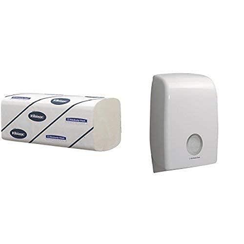 Aquarius Spender für Papierhandtücher 6945 – 1 x, weiß + Kleenex Ultra große Papierhandtücher mit Interfold-Faltung 6778 – 2-lagige Papiertücher mit V-Faltung – 15 Packungen x 124 Handtücher