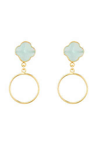 Córdoba Jewels oorbellen van 925 sterling zilver, verguld met halfedelstenen, bloemmotief Jade Circle Gold