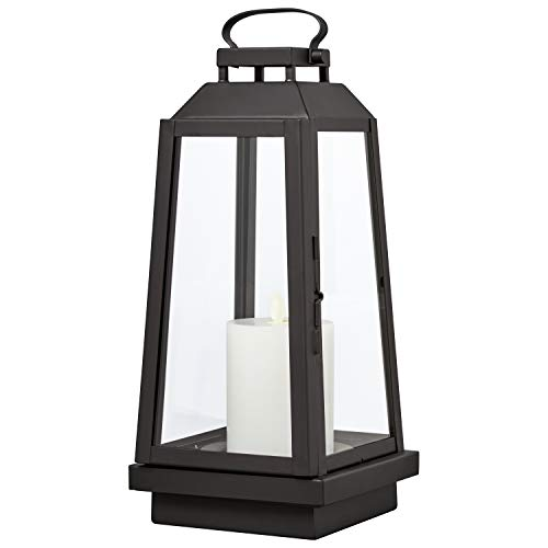 Amazon Brand  Stone & Beam Modern Traditional Decorative Metal and Glass Table Lantern with LED Candle Light - 6 x 6 x 14 Inches, Black, For Indoor Outdoor Use