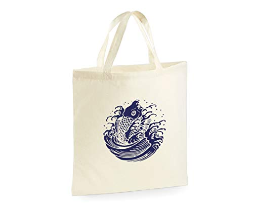 Japanese Koi Fish Bag Tote Bag Shopper Canvas Shopping Bag (Printed One Side)
