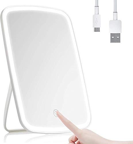 A&T Espejo de maquillaje con pantalla tactil y LED con espejo de aumento 5X incorporado, recargable por USB