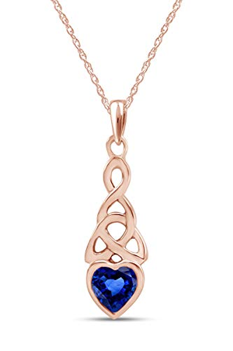 AFFY Trinity Heart Celtic Knot Pendant Necklace Simulated Sapphire 14K Rose Gold Over Sterling Silver