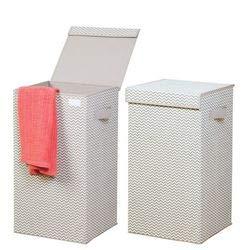 mDesign Juego de 2 Cubo de ropa para lavado de plástico – Cesto plegable para colada con asas - Cesta para ropa sucia con tapa – Ideal como bolsa para guardar ropa durante viajes – gris claro