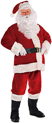 Lycoco Plüsch Mensa Santa Claus Vater Weihnachtsanzug Fancy Kleid Kostüm mit Santas Perücke Bart Half Moon Spectacle Gläser Weiße professionelle Handschuhe,S