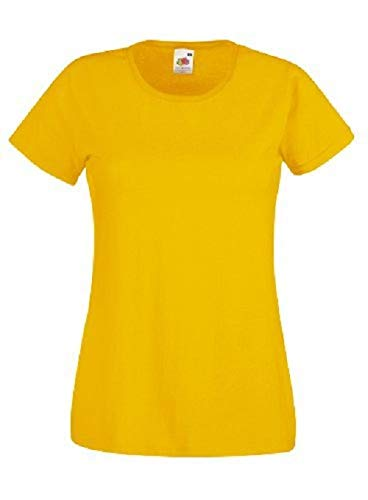 Fruit of the Loom Ss079m Camiseta, Amarillo (Sunflower Yellow), X-Small (Talla del Fabricante: X-Small) para Mujer