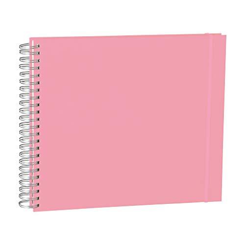 Semikolon (360354) Maxi Mucho Spiral-Fotoalbum Cream Flamingo (Rosa), 90 S. cremeweißer Fotokarton, 2 Taschen, Gummiband
