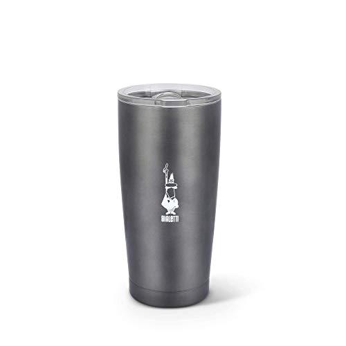 Bialetti To Go Mug Termica Take-Away, Tazza da Viaggio (con Doppia Parete), Mantiene Il Caldo per 12 h e Il Freddo per 24 h, capacità 550 ml, Dark Grey, Acciaio, Grigio Scuro