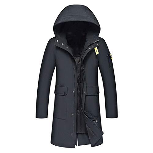 Long Men's Down Jacket Hat White Duck Down Jacket Youth Fashion Leisure Coat Upset Parkas
