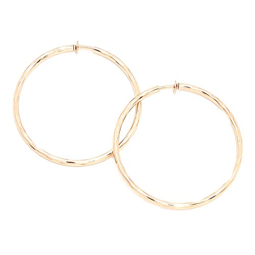 Schmuckanthony Hoernel. Clip On Kreolen Creolen Hoop Ohrclips Clips Ohrringe Gold Vergoldet Motiv Anti-Allergisch 6 cm Durch