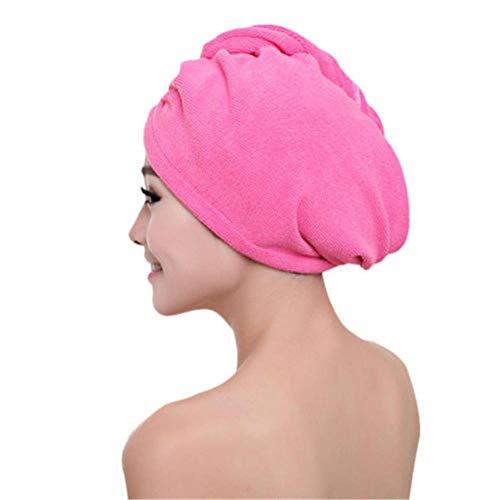 JINMENHUO Mikrofaser nach dem Duschen Haartrocknen Wickel Damen M?dchen Damen Handtuch Schnelltrocknendes Haar Hut Kappe Turban Kopfwickel Badutensilien, rosarot