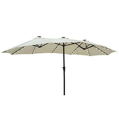 of extra large patio umbrellas outdoor basic 15Ft Lighted Patio Umbrella Extra Big Double Sided Market Table Umbrella with Lights & Crank Beige