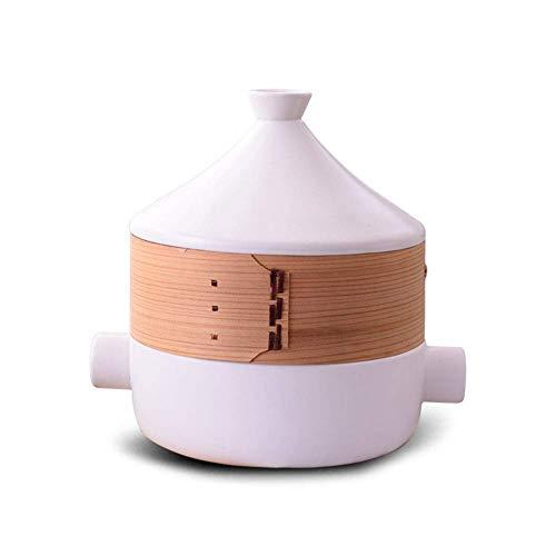 LIUSHI Cacerola Gruesa para cazuela de cerámica con Base de Hierro Fundido y Tapa Embudo de gres para Todo Tipo de encimeras Base de 9,3 Pulgadas 2,5 litros Blanco 2,5 l con vaporera
