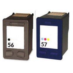 HP Pack N°56+ N°57 Cartouches Compatibles - Noir/Cyan/Magenta/Jaune