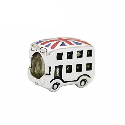 Auténtico Pandora 925 Colgante De Plata Esterlina Diy Granos Populares Joyas Granos De Bandera De Autobús De Dos Pisos Británicos Adecuado Para Todo Tipo De Pulseras