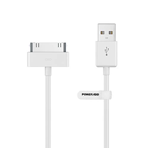 POWERADD Apple Certified iPhone 4 4s 3G 3GS iPad 1 2 3 iPod Touch Nano 30 Pin Charger USB Sync Cable (1PCS, White)