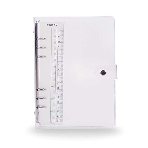 Langing - Funda blanda de PVC para hojas de papel de 6 agujeros, cuaderno, recargable, tamaño A5 estándar, carpeta tipo archivador con anillas de forma redonda, color A5.
