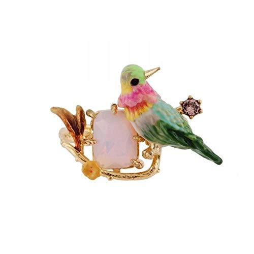 Lozse Einstellbarer Ring Schöne Farbe Kolibri Emaille Pulver Edelstein Legierung Ring