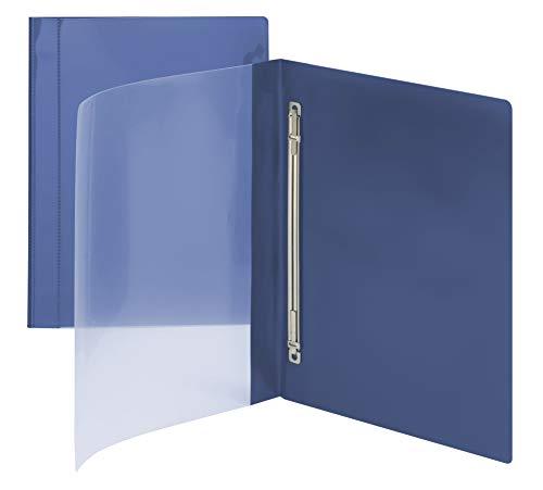 Smead clair avant Poly Report Cover, fermeture en métal, avec compresseur, latéral, jusqu'à 100 feuilles, Lettre Taille, Bleu, 10 par lot (87411)